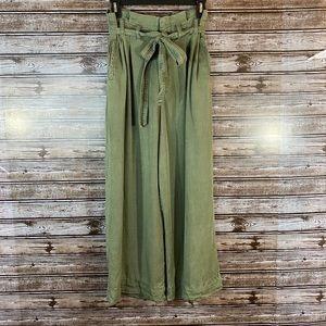 Anthropologie- Green Paper Bag Wide Leg Pants
